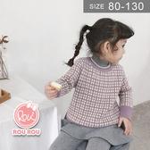 韓版男女童毛衣。ROUROU童裝。冬男女童中小童寶寶撞色格子毛衣上衣 0341-363