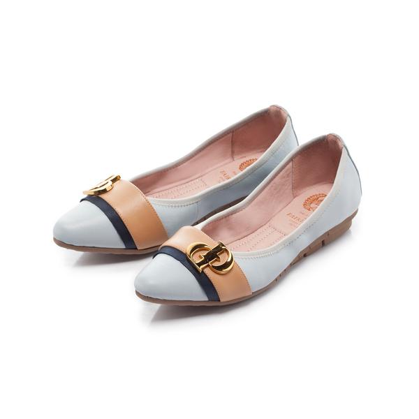 【Fair Lady】我的旅行日記-口袋系列 異材質皮革拼接尖頭平底鞋-水藍