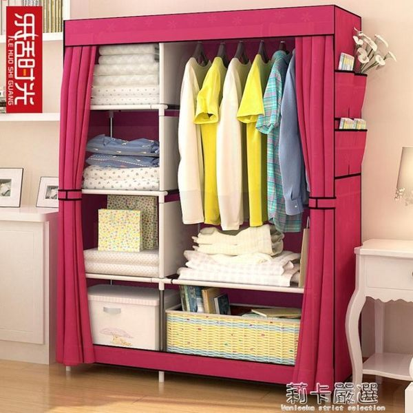 簡易布藝布鋼管鋼架單人衣櫥組裝簡約現代經濟型  莉卡嚴選
