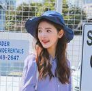 日系女士條紋蝴蝶結裝飾優雅可折疊遮陽漁夫帽yhs449【123休閒館】