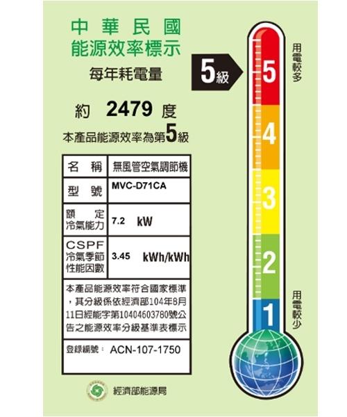 【Midea美的】9~14坪變頻冷專型分離式冷氣 MVC-D71CA/MVS-D71CA 基本安裝免運費