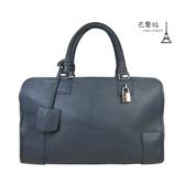 【巴黎站二手名牌專賣店】*現貨*LOEWE 羅意威 真品*品牌LOGO壓印 Amazona 藍色手提包