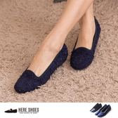 [Here Shoes] MIT台灣製 金蔥混色毛呢 圓頭平底包鞋 樂福鞋 懶人鞋 2色─AI632