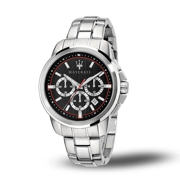 【Maserati 瑪莎拉蒂】SUCCESSO刷紋面盤設計三眼日期錶-百搭黑/R8873621009/台灣總代理公司貨兩年保固