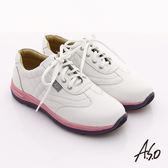 A.S.O 輕漾彈力 全真皮縫線綁帶奈米休閒鞋  白色