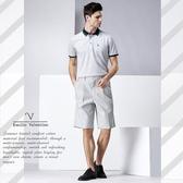 【Emilio Valentino】范倫鐵諾都會時尚雙摺鬆緊休閒短褲_淺灰細條