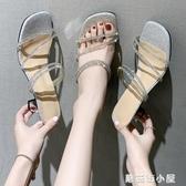 仙女風水鉆兩穿涼鞋女夏季新款網紅粗跟高跟時尚羅馬涼鞋潮鞋 蘑菇街小屋