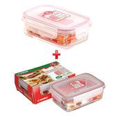 ★1+1超值組★KEYWAY 台製耐熱玻璃保鮮盒(400ml)+KEYWAY 台製耐熱玻璃保鮮盒(1.1L)【愛買】