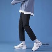 毛邊牛仔褲男韓版修身直筒褲夏季薄款青少年百搭九分褲子【聚物優品】