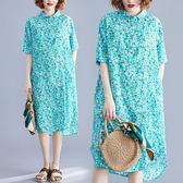 大呎碼洋裝 夏季新款文藝大碼印花襯衣衫洋裝 全館85折