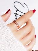 情侶戒指 傾色幾何戒指男女情侶指環s925純銀切面雙層開口韓國氣質簡約食指 交換禮物