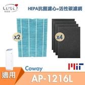 【2片 HEPA抗菌防敏濾心+ 4片活性碳濾網組】適用 Coway AP-1216L COWAY 綠淨力空氣清淨機