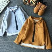 *╮小衣衫S13╭*帥氣領帶印花加絨長袖上衣  1041133