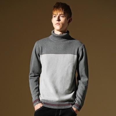 長袖針織衫-簡單個性雙色造型男針織毛衣73ik6【時尚巴黎】