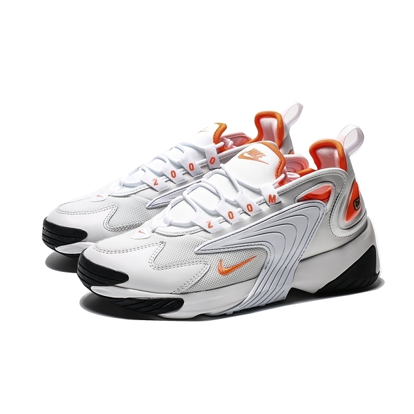 NIKE ZOOM 2K 白 橘 復古 運動 襪套 慢跑鞋 女 (布魯克林) AO0354-002