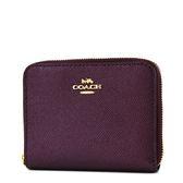 美國正品 COACH 素面防刮皮革拉鍊短夾-奢華紫【現貨】