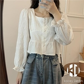 法式方領襯衣上衣女甜美泡泡袖設計感小眾短袖白色襯衫【Kacey Devlin】