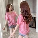 2021年夏季新款網紅燙金印花短袖t恤女寬鬆時尚百搭抽繩上衣ins潮 蘿莉新品