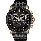 【送米奇電扇】CITIZEN 星辰 光動能萬年曆手錶-黑x玫瑰金/42mm BL8156-80E