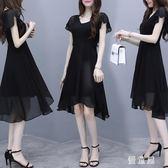 大碼不規則V領A字雪紡洋裝 女裝夏裝新款胖mm很仙的氣質連身裙 BT11788『優童屋』