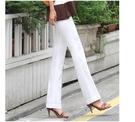 夏季新款白色彈力女褲顯瘦薄款直筒褲高腰中年女西褲休閒百搭長褲【快速出貨】
