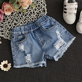 女童牛仔短褲 女童牛仔短褲破洞夏季女孩時尚童裝中大童正韓薄款熱褲-Ballet朵朵