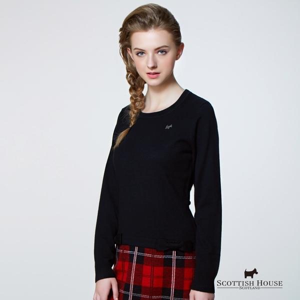 拼接格紋裙襬針織洋裝 Scottish House【AB1458】