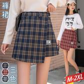 格紋腰帶翻片褲裙(3色) M~2XL【532545W】【現+預】☆流行前線☆