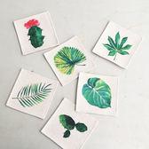 【BlueCat】植物世界葉子綿麻杯墊(6入一組)