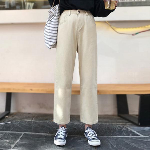 高腰牛仔褲女學生韓版2018新款秋裝寬鬆褲子闊腿褲直筒褲九分褲潮