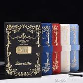 復古密碼本創意學生日記本帶鎖筆記本日韓版加厚手賬本筆記本文具     琉璃美衣