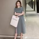 新款韓系上衣大碼寬松顯瘦開叉長款過膝大碼短袖t恤裙女夏春 檸檬衣舍