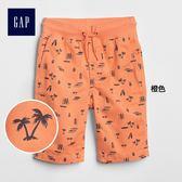 Gap男童 舒適印花鬆緊腰短褲 237404-橙色