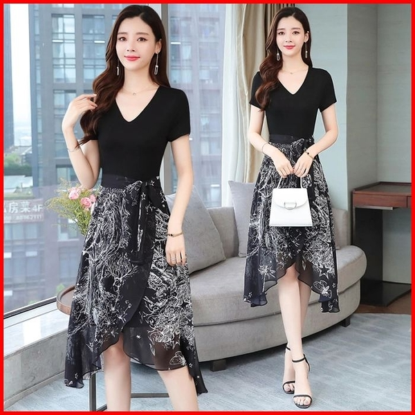 韓國風短袖洋裝 黑色顯瘦短袖不規則連衣裙女中長款連身裙 依多多