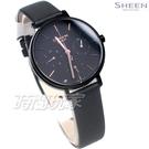 CASIO 卡西歐 SHEEN 簡約設計 大錶面 三眼多功能 SHE-4541BL-1A 女錶 黑色 SHE-4541BL-1AUDF