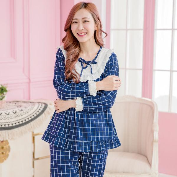 睡衣- Wonderland 英倫格紋居家休閒衣褲組(藍)