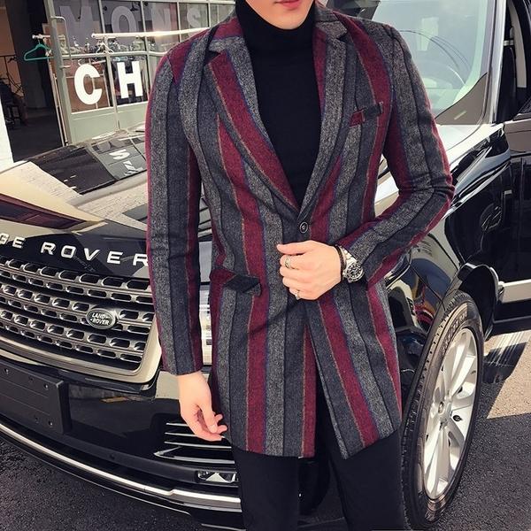 FINDSENSE品牌 秋冬季 新款 日本 男 高端  復古條紋 修身 時尚 毛