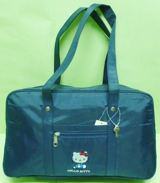 【震撼精品百貨】Hello Kitty 凱蒂貓~手提袋肩背包補習袋『深藍側坐』