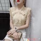 無袖襯衫氣質雪紡衫女2021年夏季新款洋氣無袖背心襯衫時尚鏤空蕾絲上衣潮 愛丫 新品