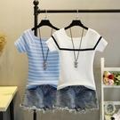 針織上衣2020夏季冰絲上衣修身短款打底衫一字領條紋薄款短袖針織衫T恤女 JUST M