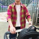 FINDSENSE H1 2018 夏季 新款 拼色格子襯衫 七分袖 免燙 寬鬆