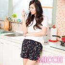 MICCH 涼夏輕薄透氣 嫘縈棉柔 MIT休閒短褲(恬靜絮語)