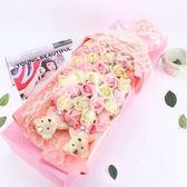 33朵情人節假仿真鮮花玫瑰人造肥皂花禮盒-粉紅色