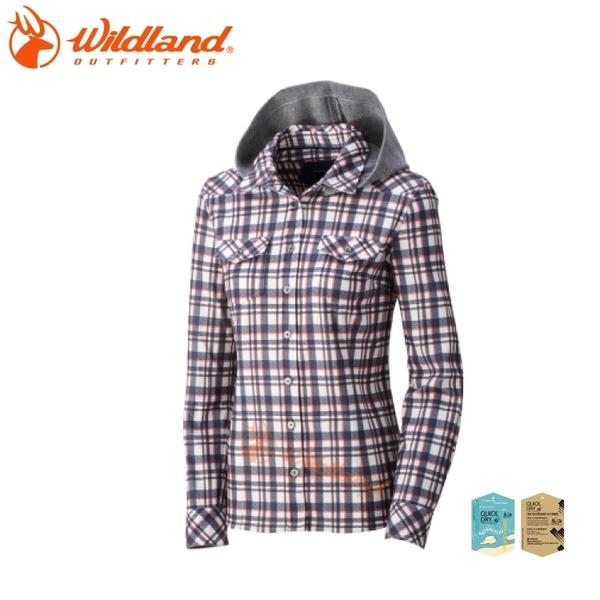 【Wildland 荒野休閒 女 彈性格紋連帽保暖襯衫《深芋紫》】0A32201-60/彈性保暖快乾/登山/旅遊/禦寒