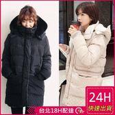 免運★梨卡 - 情侶可穿超高質感正韓國空運-中長款內鋪保暖羊羔毛羽絨連帽花苞外套大衣A804