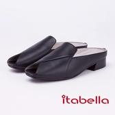 itabella.率性風采交叉露趾拖鞋(9212-90黑色)