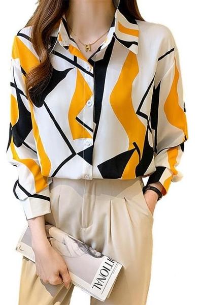 長袖襯衫~~印花襯衫~~印花襯衫女設計感小眾季百搭雪紡長袖襯衣女GDB503C愛尚布衣