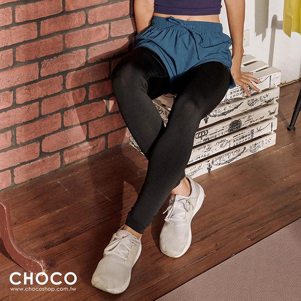 Choco Shop-美型感受‧兩件式美型機能貼身運動褲(藍色) S~XL