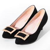 ★新品上市★GREEN PINE 方釦絨面尖頭高跟鞋  -黑色