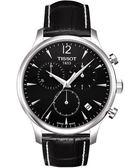 TISSOT 天梭 Tradition 復刻計時手錶-黑 T0636171605700